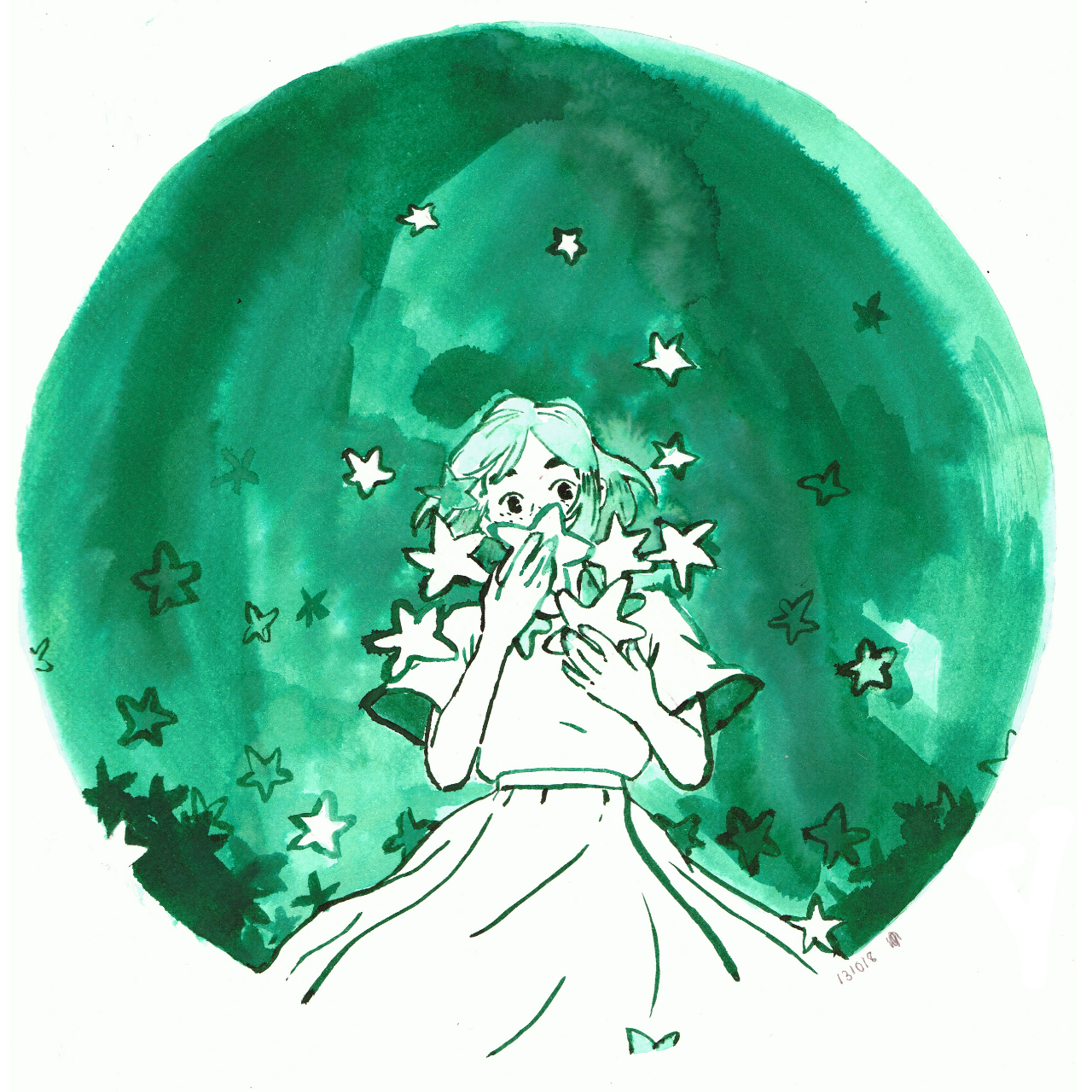 Ink drawing of a girl holding stars to her face while stars are gently raining down around her