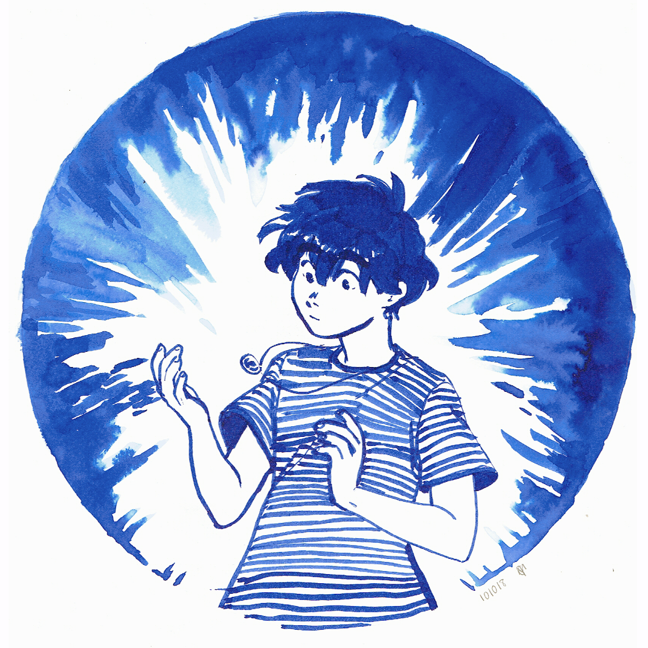 Ink drawing of a boy standing with a floating necklace that's shining brightly