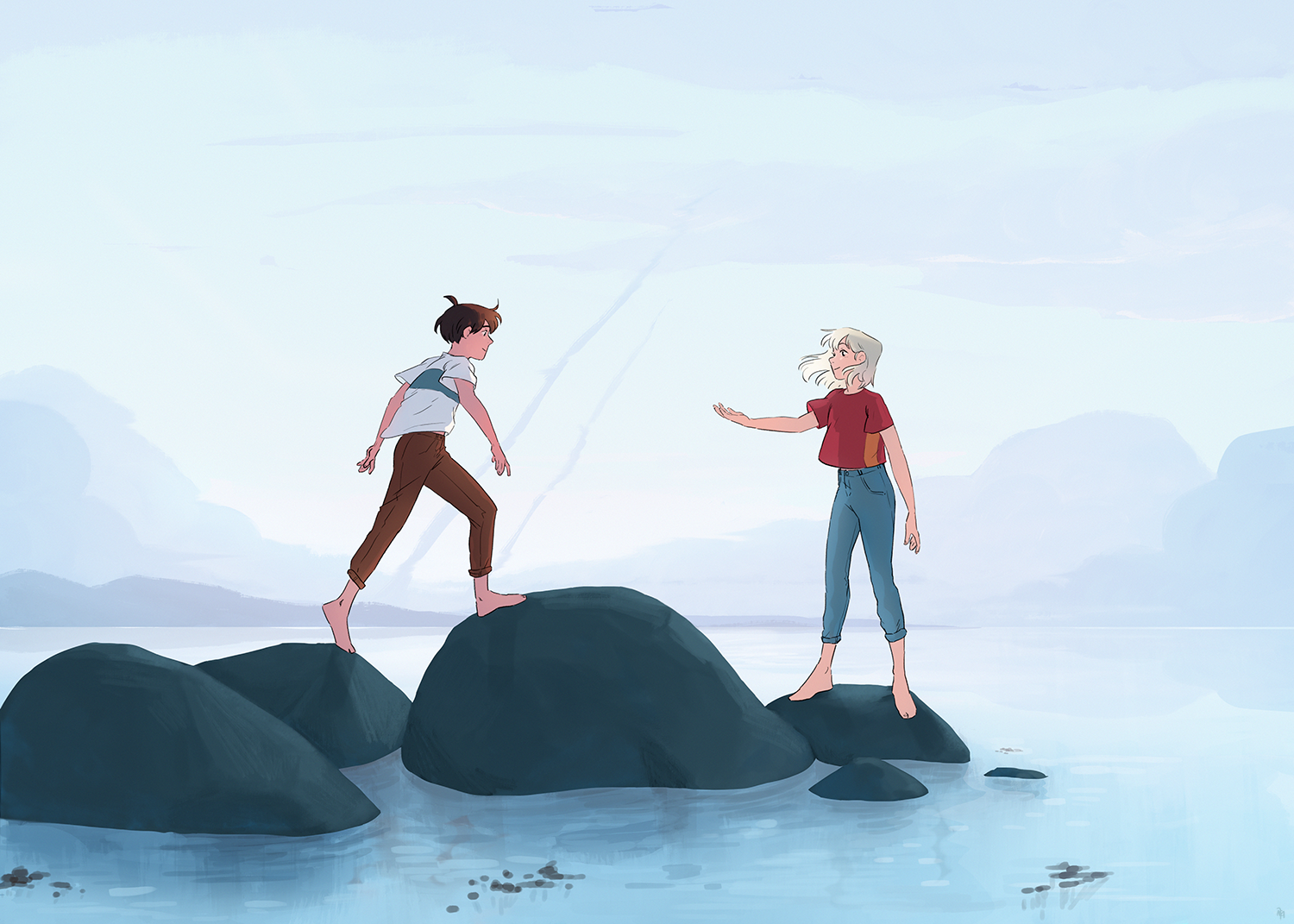 Two teens walk on rocks surrounded by water, the girl has reached out her hand for the boy to grab.