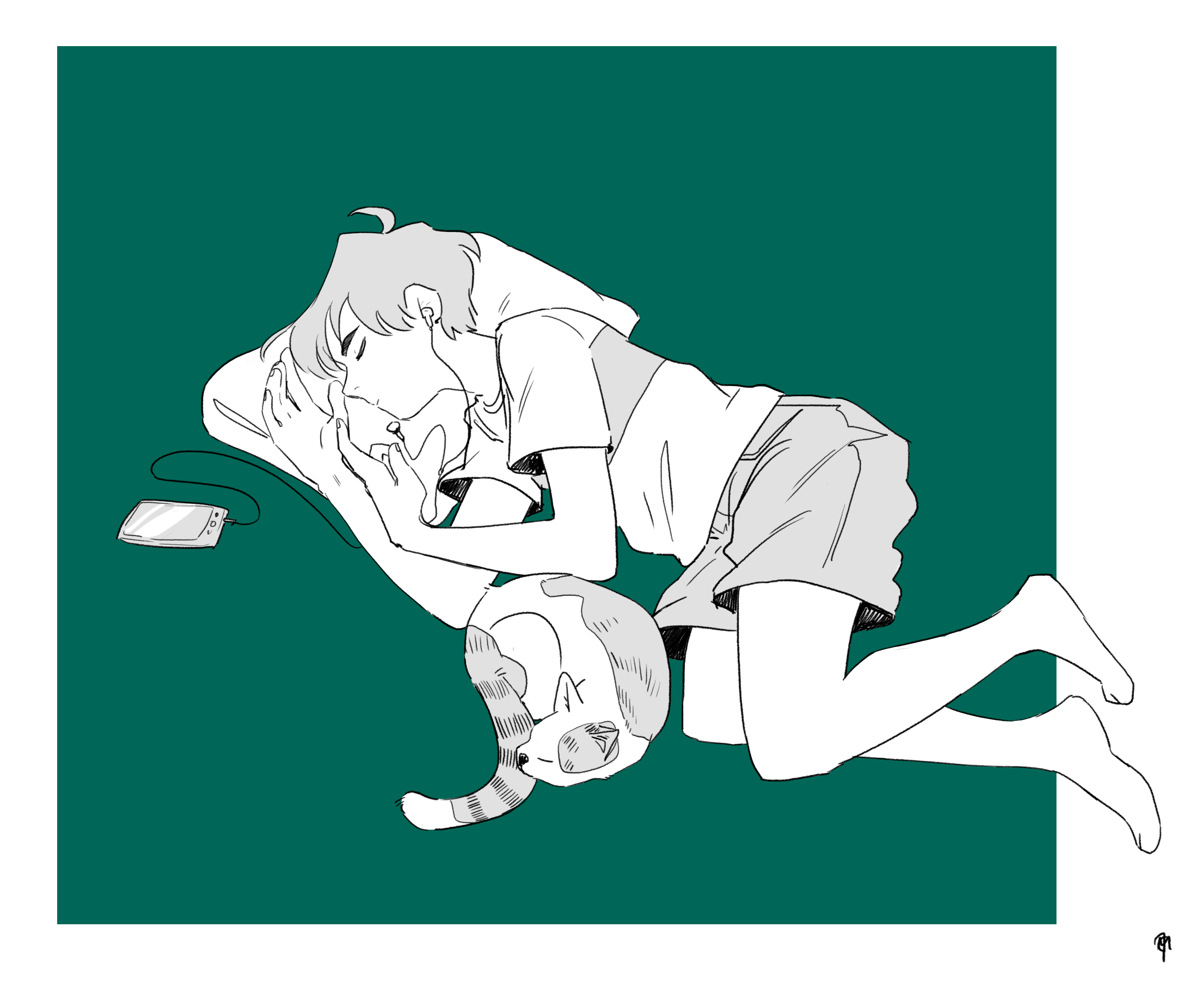 Drawing of a boy and a cat napping.