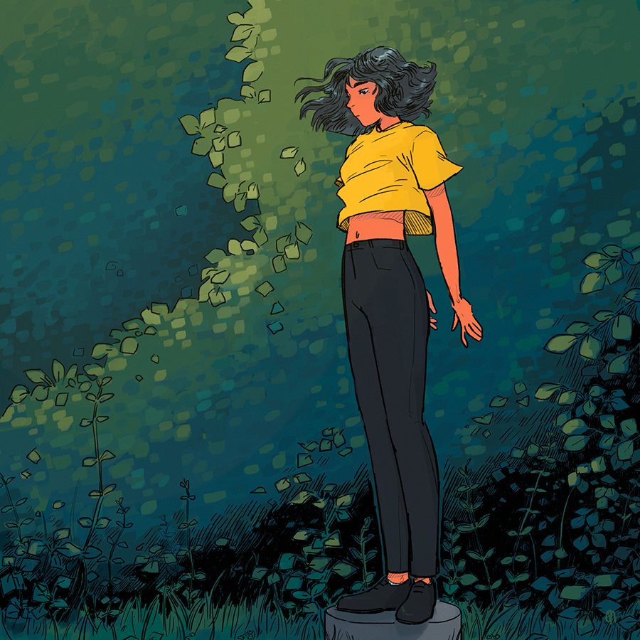 A girl stands atop a small platform. The wind blows in her hair and her yellow t-shirt. Behind her are green bushes and various plants.