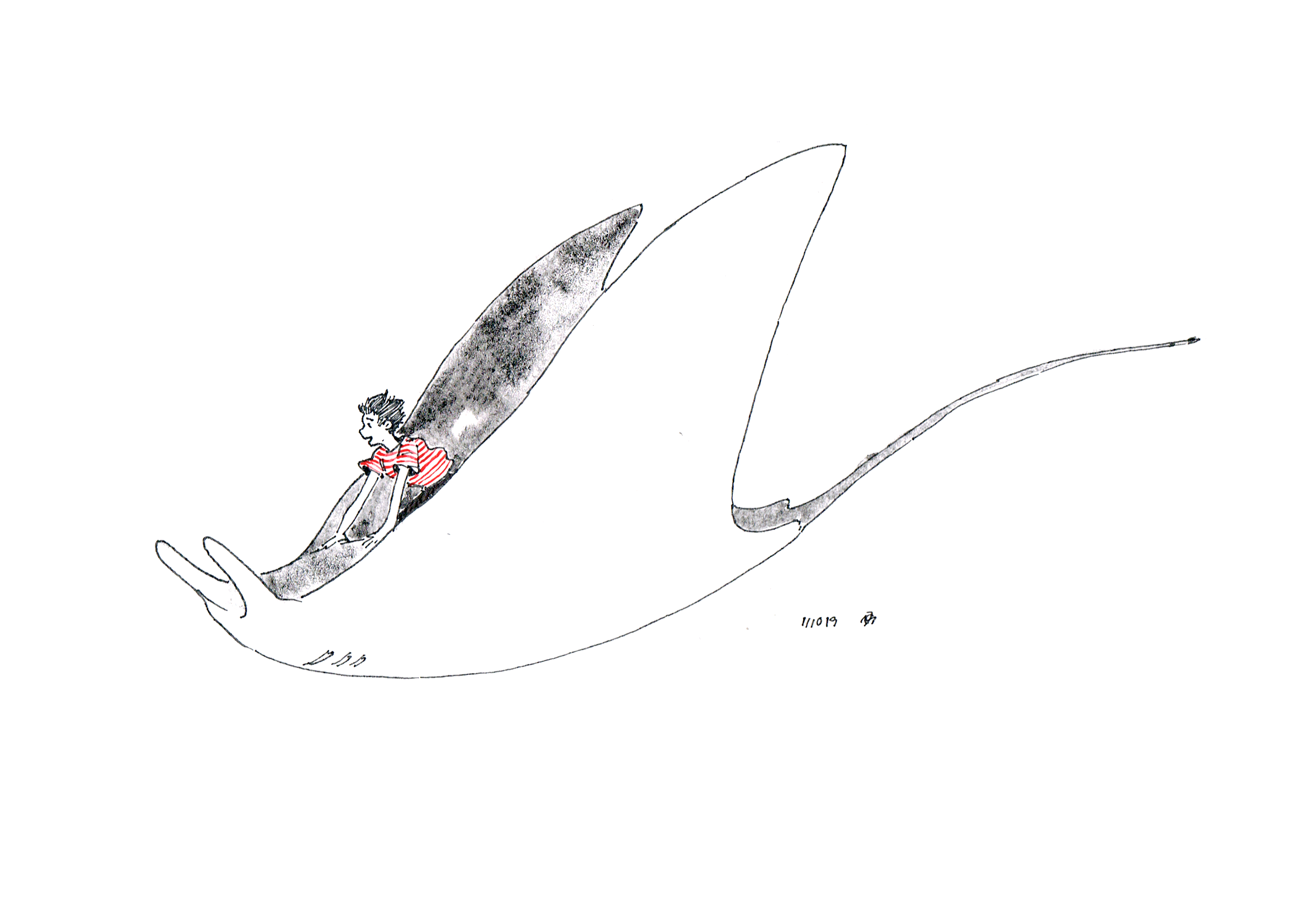 Ink drawing of a boy riding the back of a mantaray.