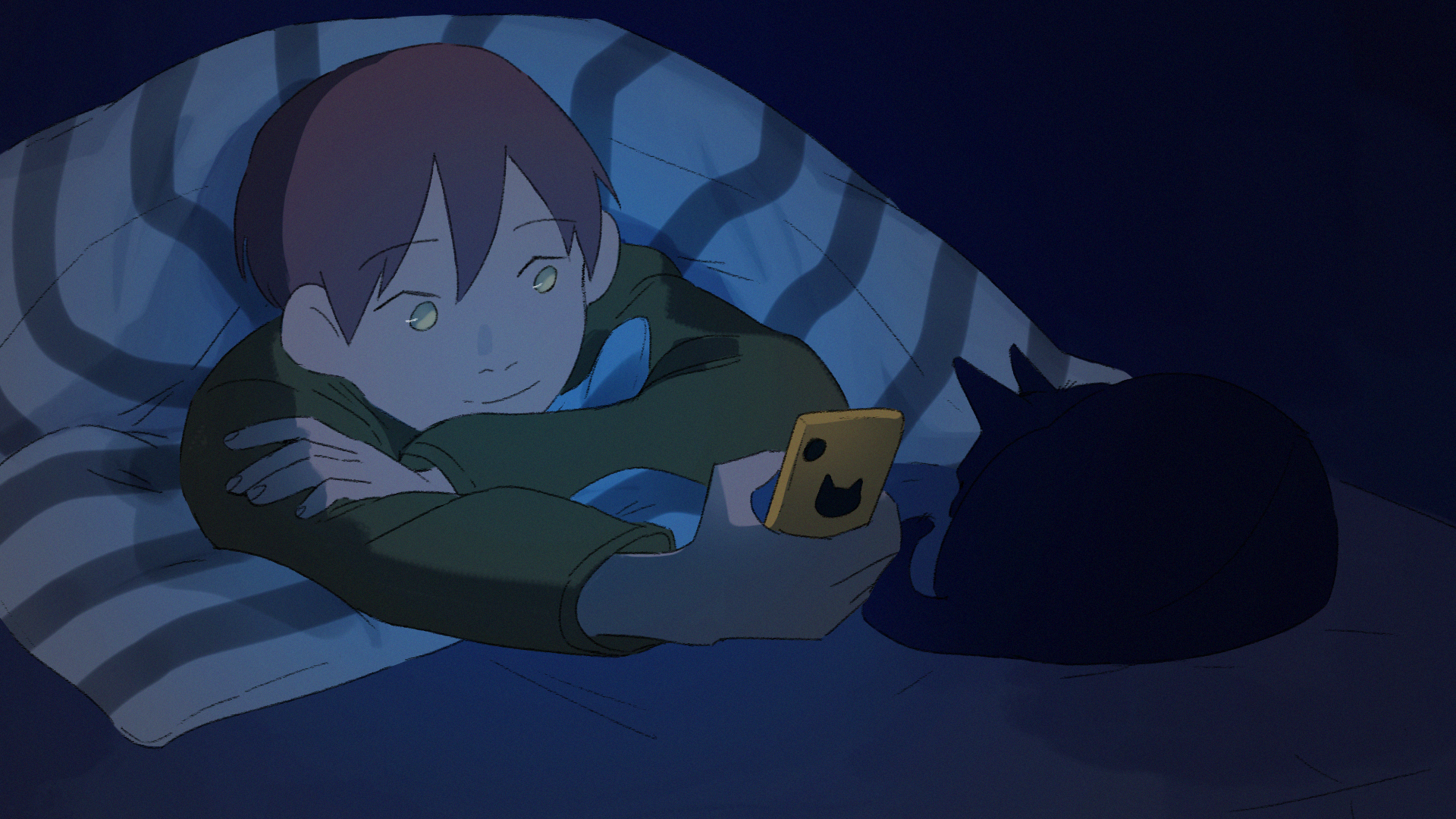 Drawing of character in bed with phone.