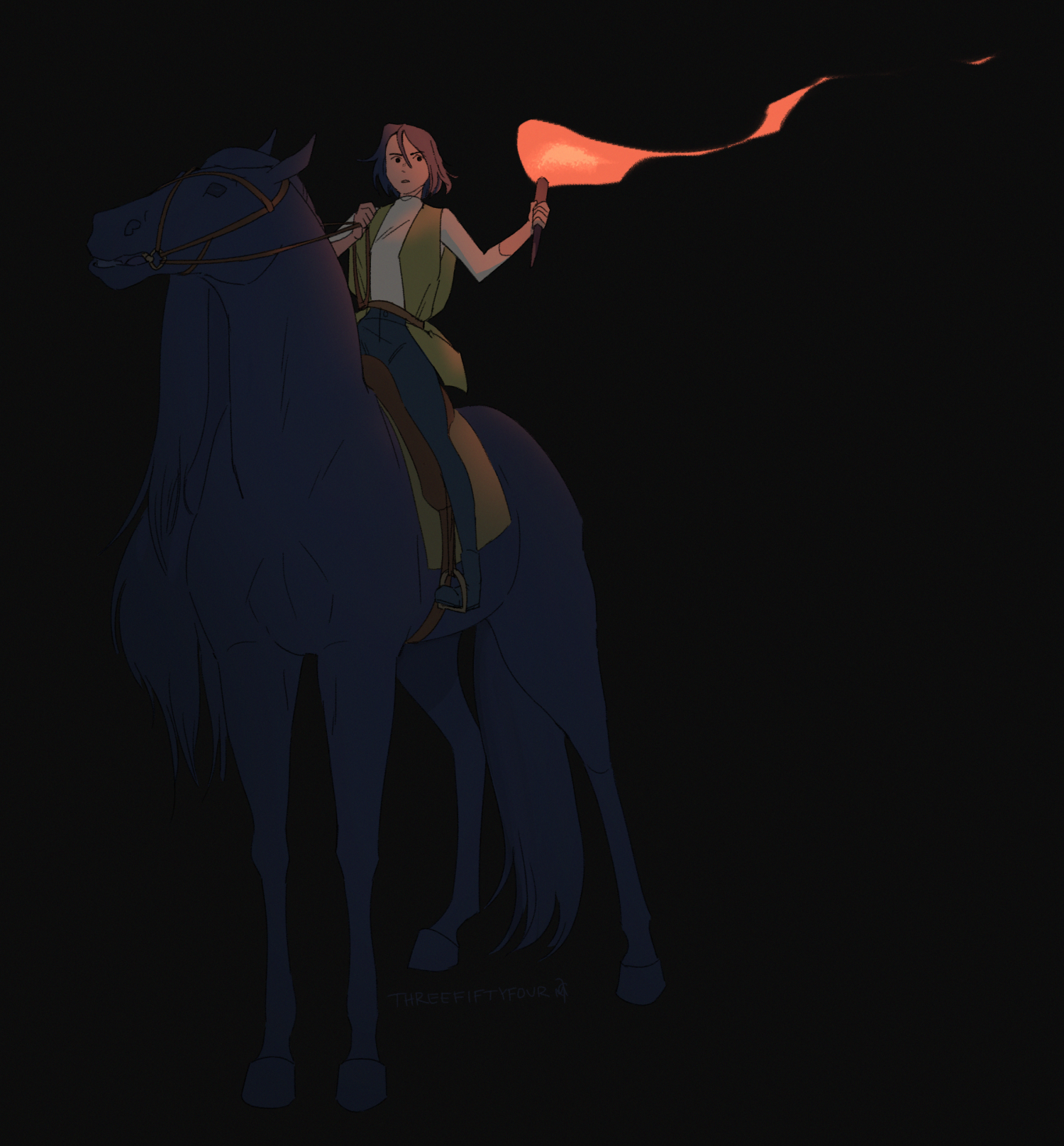 A person sitting atop of a horse with a torch in their hand.